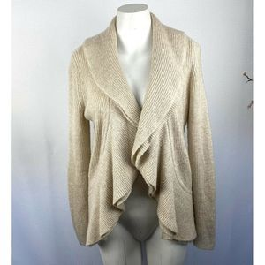 WHBM Gold Weave Waterfall Cardigan Soft Wool Blend
